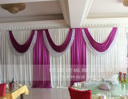 yellow stage curtains Canada - Ice Silk Wedding Backdrop Curtain Wedding Decoration Stage Backdround Pleats Curtain 10ftX20ft(3*6m) Silver Sequins Purple Swag