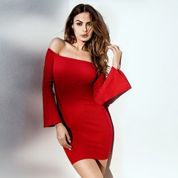 Barato Roupas Femininas Grossistas E Elegantes-Atacado Slash Neck Strapless Sexy Mini Dress Flare Sleeve Elastic Elegant Bodycon Vestidos Autumn Women Clothing Red Clubwear S M L
