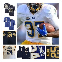 25 LeSean McCoy 1 Larry Fitzgerald 28 Dion Lewis 24 James Conner Pittsburgh  Panthers Pitt College Football Sew Navy Gold White Blue Jerseys 33cbbd5c7