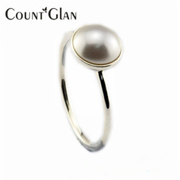 $enCountryForm.capitalKeyWord Canada - 2016 New Luminous Droplet Silver Rings with White Crystal Pearl Original 100% 925 Sterling Silver Jewelry DIY