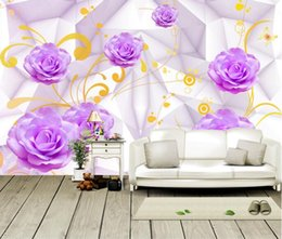 PurPle wallPaPer for bedroom walls online shopping - Customization photo Backgrounds D Wallpaper For Walls d Wallpaper Murals Non Woven For Living Room Purple roses three dimensional