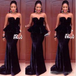 Discount deep sweetheart neckline mermaid - Sexy Black Velvet Long Mermaid Evening Dresses Gowns 2016 Elegant Sweetheart Neckline with Peplum Sweep Train Zipper Fas
