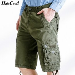 310898bb1fc01 Wholesale- HALACOOD Top Selling New Summer Calf-Length Cargo Mens Cotton Shorts  Multi-pocket Solid Male Puls Size Beach Shorts Capris Fat