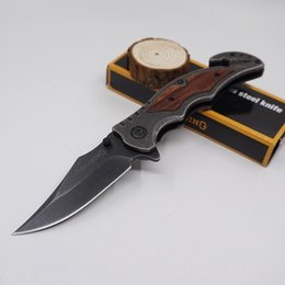Wholesale Brown Survival Knives Stone Washed Steel Blade Wood Handle Pocket Folding Knife Cutting tool Tactical Knife Best Gife