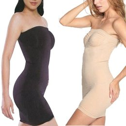Barato Vestido Sexy De Corpo Inteiro-Atacado- Mulheres de tamanho grande Sexy Slimming Boob Tube Top Dress For Bride Body Shaper Dress Adjustable Underwear Control Slips Full Slips