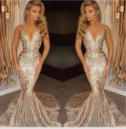 Discount african wears dresses - New Luxury Gold Prom Party Dresses 2020 Mermaid V Neck Sexy African Long Vestidos Special Occasion Dresses Evening Wear