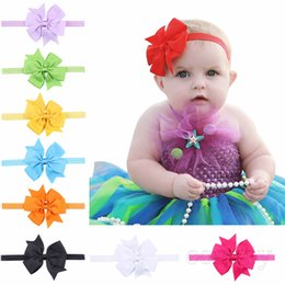 Barato Fita De 4 Polegadas-Baby Girls 4inch Bow Headbands Grosgrain Ribbon Boutique Bowknot Hairbands Infant Elastic Hair Accessories Baby Headwear 18Colors KHA86