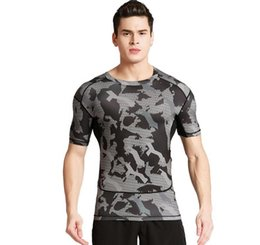 Chinese  Short - sleeved fitness clothes men 's sports outdoor camouflage uniforms dry clothes basketball running T - shirts manufacturers