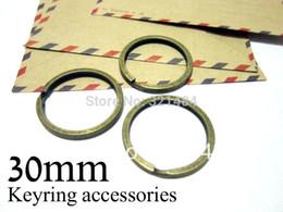 Brass Needles Australia - bulk 500piece Antique brass bronze split key rings 30mm for keychain jewelry making supplies