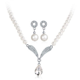 indian gold pearl necklace sets Canada - \Fine Accessories Jewelry sets Pearls Rhinestones Bridal Wedding Chokers Chains Necklaces Circle Angel Wings Drop Dangle Earrings For Women