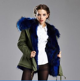 Women S Snow Parka Australia - Cheap Meifeng brand Lavish blue raccoon fur trim blue fox fur lined army green mini jackets snow parka women coats with ykk zipper