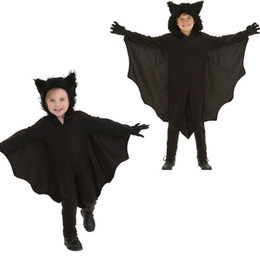 disfraces de halloween adolescente al por mayor-Halloween Animal Cospaly Kids Black Bat vampiro disfraces para niños Boy Gril Cosplay traje mono RF0186