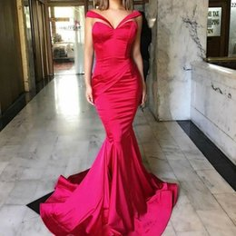 Robes De Robe Plissées Pas Cher-Sexy Robe de soirée rouge Sweetheart Pleats Mermaid Long Robes de soirée Formal Prom Livraison rapide Satin Custom made vestido longo