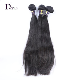 Chinese  Derun Hair on Sale!!!Mix 3 Bundles 100% Unprocessed Malaysian Virgin Human Hair Weft Silky Straight Natural Color Fast Free Shipping manufacturers