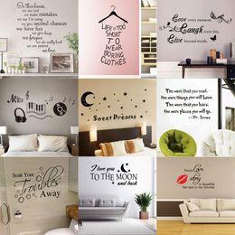 Ingrosso 180 stili Nuovo vinile rimovibile Lettering Quote Stickers murali Home Decor Sticker Mordern arte murale per bambini vivaio soggiorno