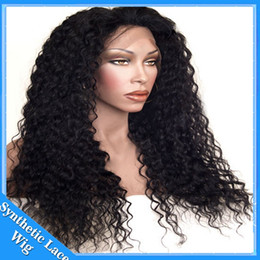 synthetic heat resistant wigs cheap NZ - Top Sale Cheap Kinky Curly Natural Wigs Synthetic Lace Front Wig Fiber Loose Curly Wigs Synthetic Lace Front Wigs Heat Resistant Hair 1#2#