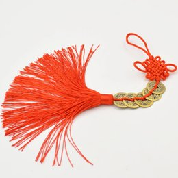 wish coin Canada - Chinese Traditional Hand-made Art Craft Chinese Red Knot with Lucky Coins