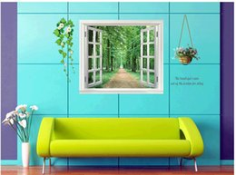 wall stickers corridor Canada - 60*90cm Creative 3 d fake window tree-lined trail wall stick corridor of the sitting room the bedroom adornment fashion PVC stickers