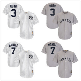 db40cfe200b ... free shipping mens new york yankees mickey mantle 7 jersey babe ruth 3 majestic  cool base