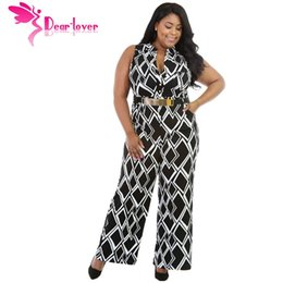 Barato Atacando Mais Legging-Wholesale- Dear Lover Big Women Clothes XL-XXXL Box Print Wide Leg White Plus Size Jumpsuit Com Waistbelt Macacao Feminino Geral LC64086