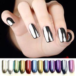 Discount powder pigments for nail art - Wholesale- Mirror Powder Nails Glitter Polish Powder for Nails Chrome Nail Powder Nail Art Chrome Pigment Vtirka Mirror