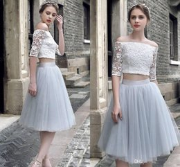 Woman royal blue knee length dress online shopping - 2017 New Women Cocktail Dresses Two Pieces Half Sleeves White Lace Silver Tulle Prom Dresses Party Dress Knee Length Formal Homecoming Gowns