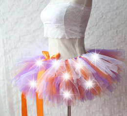 Costume Sexy De Tutu Halloween Pas Cher-New Arrival Women Tulle Tutu Jupe Sexy Mini Fancy Adult Petticoat Fluffy Yarn Ballet Dance Halloween Led Ballroom Stage Dance Show Costume