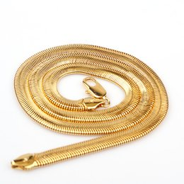 "6mm Chains NZ - Fashion 24K Yellow Gold Filled Real Mens Womens Flat Solid Snake Bone Chain Necklace 24"" 6mm"