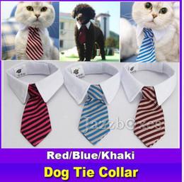 Discount summer dog collars - New Pet Dog Striped Tie collar Cat Bow Cute Dog Necktie Wedding Adjustable Puppy Red Blue Khaki free shipping