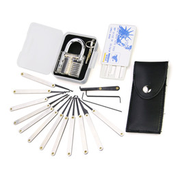 Wholesale transparent practice pin lock padlock set Lock picks Tools locksmith credit card lock pick set