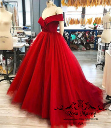 Maternidad Ropa De Noche Barata Baratos-Sexy Red Off Shoulder Cheap Prom Dresses 2018 Nuevo Vestido Formal Largo Evening Wear Puffy Tulle Ball Gown Maternity Women Cocktail Party Gowns