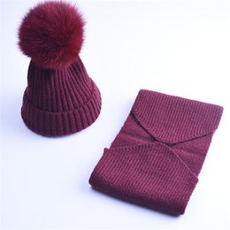 Blue Hats For Girls Australia - 2017 Woman New Good Quality Cashmere Children Winter Hat Scarf Knitted Wool Beanies Hats Big Pom Pom Hat Kids Warm Caps Set For Boys Girls