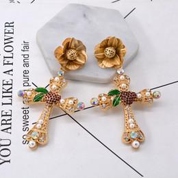 $enCountryForm.capitalKeyWord Canada - 2018 New Arrival Fashion Gold Color Cross Earrings For Women Statement Jewelry Big Cross Dangle Earrings Pendants Bijoux Bosewin Jewelry