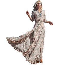 78e2c47343 Raodaren Summer Autumn Women Vintage Elegant 2017 Deep V Neck Boho Long  Maxi Dress Sexy Ladies Chiffon Floral Print Split Hippie Dress