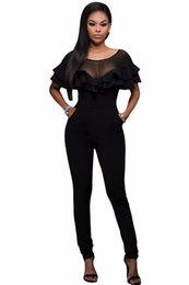 Combinaison Double Pas Cher-New Arrived Popular Jumpsuit Solid Black Skinny Slim Fit Bodysuit Mesh Insert Double Ruffle Playsuit Rompers Macacao Feminino
