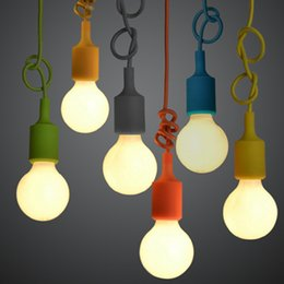 plastic pendant lamp diy Australia - 5pcs DIY Personality E27 Colorful Silicone Pendant Lamp holder High Quality Pendant Lights with 100cm cord ceiling base.