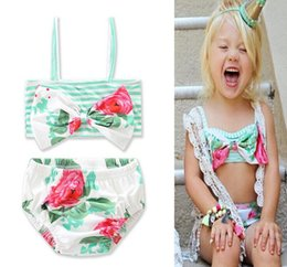 Barato Malhas Para Meninas-2017 Meninas Baby Childrens Swimwear Bow Two-Pieces Swimsuit Clothes Sets Beach Bikinis Bathing Suit Baby Boutique roupas de banho Trunks
