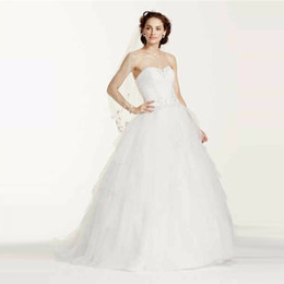 open skirt ball dress UK - Elegant Jewel Strapless Tiered Tulle Wedding Dress Open Back with Lace up Cystom Made Plus Size Bridal Gowns WG3722
