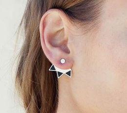$enCountryForm.capitalKeyWord Canada - Vintage Triangle Ear Jacket For Womens Silver  Gold Plated Geometric Back Hanging Stud Wraps Lady Jewelry Ear Jacket Earrings