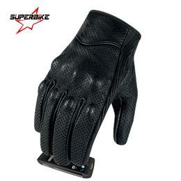 Rękawice motocyklowe Ekran dotykowy Oryginalny kozła skórzana Elektryczna Rowerowa Rękawica Dla Mężczyzn Mężczyzna Kolarstwo Full Finger Motorbike Moto Bicycros Motocross Luvas Black S M L XL XXL