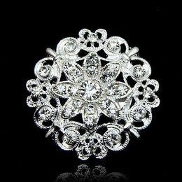 Flower Gift For Love Australia - Silver Clear Rhinestone Crystal Brooch Love Heart Flower Corsage Wedding Bridal Bouquet Brooches Pins for Men Women Wedding Gift