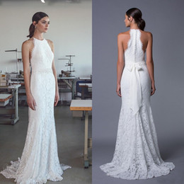Country Style 2017 Beach Wedding Dress Sheath Column Full Lace Halter Neck Sleeveless Bridal Gowns With Exquisite Beaded Pearls Sash Train