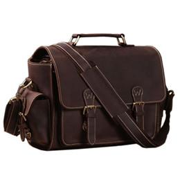 $enCountryForm.capitalKeyWord UK - Wholesale- Vintage Crazy Horse Leather Camera Bag men Briefcase 100% Genuine Leather shoulder bag men crossbody bag Camera case