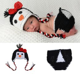 Crochet Baby Star Australia - Newborn Photo Props Knitted Baby Costume Crochet Baby Cap Newborn Baby Penguin Shape Photography Props Design Hat BP096