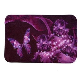40*60cm Purple Butterfly Bath Mats Anti Slip Rugs Coral Fleece Carpet For  For Bathroom Bedroom Doormat Online Butterfly Rugs For Sale