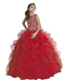 Beautiful Organza Prom Dresses UK - Beautiful red beaded sequins crystal Eugen yarn small round neck children's beauty dress custom size flower girl dress prom dresses