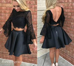Le Soir, Porter Des Mini Tops Pas Cher-2017 Black Two Pieces Robe de bal en dentelle Top à manches longues Vêtements de vacances Graduation Evening Party Pageant Gown Custom Made Plus Size