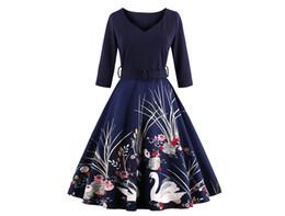 a414cf6ed Elegant Floral A Line Dress Audrey Hepburn robe Retro Swing Casual 50s  Rockabilly Vintage Dresses 3 4 Sleeve V Neck Slim Vestidos De Festa