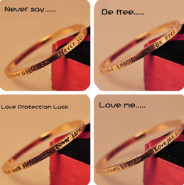 $enCountryForm.capitalKeyWord NZ - Vintage Love Me Bangle Simple Design Wish Bracelet Be Free Never say forever Golden Bangle Lover Jewelry for Man and Women Gift