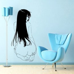 Sexy Living Room Cartoon UK - Japanese Cartoon Vinyl Wall Decal Anime Manga MANGA SEXY GIRL WITH TATOO Mural Art Wall Sticker Home Decoration Bedroom Decor